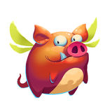 Illustration: Funny Flying Pig. Realistic Fantastic Cartoon Style Artwork, Character, Scene Wallpaper, Story Background, Card Design Royalty Free Stock Photography