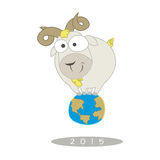Illustration of Funny Goat Stand on Earth Royalty Free Stock Image