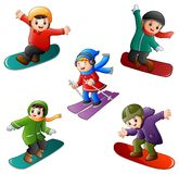 Funny kids play winter sports Royalty Free Stock Photos