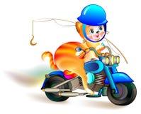 Illustration of funny kitten traveling on a motorbike. Stock Image