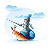 Illustration funny knight on the cochlea Royalty Free Stock Image