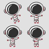 Funny little astronaut in differences poses stock illustration