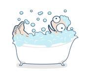 Illustration of funny man taking a bath Royalty Free Stock Photo