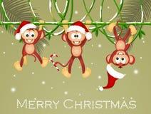 Monkeys with Christmas hats. Illustration of funny monkeys with Christmas hats royalty free illustration