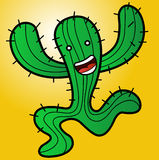 Illustration of a funny monster cactus running Stock Image