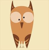 Illustration of funny owl at pastel colors. Illustration of beige and brown owl with big eyes at the beige background Royalty Free Stock Photos