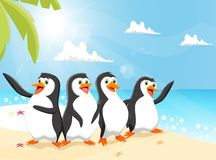 Illustration of funny penguin cartoon on the beach Royalty Free Stock Images