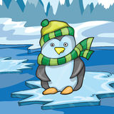 Illustration of funny penguin on ice background Stock Photo