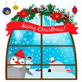 Illustration with funny penguin in a window and friends in the North. EPS 10 Stock Images