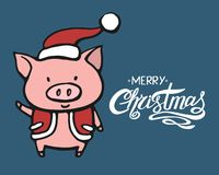 Illustration of funny pig character in Santas clothes. Vector set hand drawn illustration. Christmas card, poster, t royalty free illustration