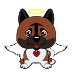 Illustration of funny puppy dog media icon smiley, happy dog angel. Dog American Akita Stock Illustration