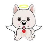 Happy dog angel. Eskimo Dog or Spitz. Illustration of funny puppy dog media icon smiley, happy dog angel Vector Illustration