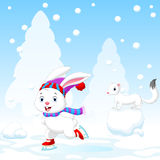 Illustration of funny rabbit on ice skates Stock Photography