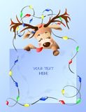 Illustration of a funny reindeer with place your text here. stock illustration