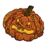 Illustration of funny rotten pumpkin. Stock Photography