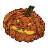 Illustration of funny rotten pumpkin. Stock Photography