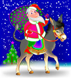 Illustration of funny Santa Claus riding on donkey. Vector cartoon image. Scale to any size without loss of resolution Stock Images