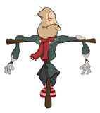 Illustration of a funny scarecrow Cartoon. Ridiculous scarecrow in old clothes Stock Image