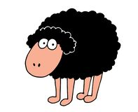 Illustration of a funny sheep with a body full of wool royalty free illustration