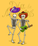 Illustration of funny skeletons. Symbol of the day of the dead Stock Images