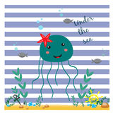 Illustration with funny smiling jellyfish Royalty Free Stock Photo