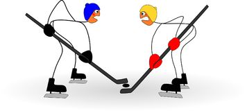 Funny stick figures play hockey at the olympic winter games. Illustration of funny stick figures play hockey at the olympic winter games Vector Illustration