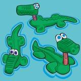 Illustration of funny stylized crocodiles. Fully editable  illustration of funny stylized crocodiles Stock Photography