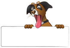 Illustration of a funny surprised dog with eyes wide open and tongue hanging out of mouth. Dog is holding a blank white sign stock photography