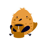 Illustration of funny tired or ill bird with big cup of tea Stock Photo