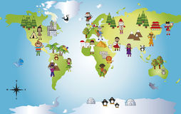 World. Illustration of funny world with different people stock illustration