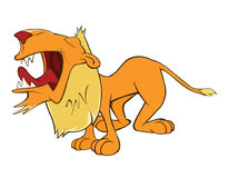 Illustration of a Funny Yellow Lion. Cartoon Character Royalty Free Stock Photo
