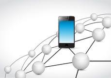 illustration futée de concept de réseau de lien de téléphone illustration libre de droits