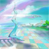 Painting illustration future world aero technology royalty free stock photography