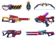 Illustration: Futuristic Weapon Arsenal with White Background. Stock Image