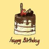 Illustration Gâteau avec du chocolat Joyeux anniversaire Images stock