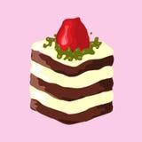 Illustration gâteau de chocolat avec des fraises Photos stock