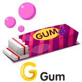 Illustration of g font with gum. Cute and education Stock Images
