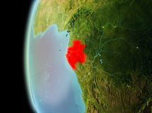 Evening view of Gabon on Earth. Illustration of Gabon as seen from Earth's orbit in late evening. 3D illustration. Elements of this image furnished by NASA Royalty Free Stock Images
