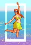 Illustration gaie d'été avec une femme dodue dans un maillot de bain illustration stock