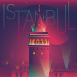 Illustration of galata tower night view Royalty Free Stock Images