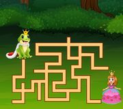 Game frog prince maze find way to princess Vector Illustration