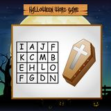 Game halloween find the word of coffin Royalty Free Illustration