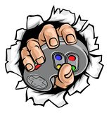 Gamer Hand and Video Game Controller Breaking Wall. An illustration of gamer hand holding a video game controller breaking wall or background stock illustration