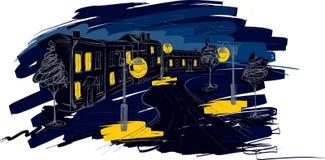 Illustration - gammal stad av natten Royaltyfri Fotografi