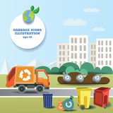 Illustration of garbage transportation to dumb near the city and icon collection Stock Photo