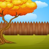 Garden background with autumn tree and wooden fence. Illustration of Garden background with autumn tree and wooden fence Stock Image