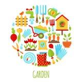 Illustration of Gardening icons set Stock Image