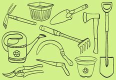 Illustration of gardening tools - doodle style. Pot, watering can, dig, rake, scissor, shovel Stock Photos
