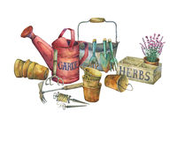 Illustration of gardening tools. stock illustration