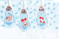 Illustration of garland with Christmas symbols: house, bells, knitted socks for gifts. On a white background Stock Image